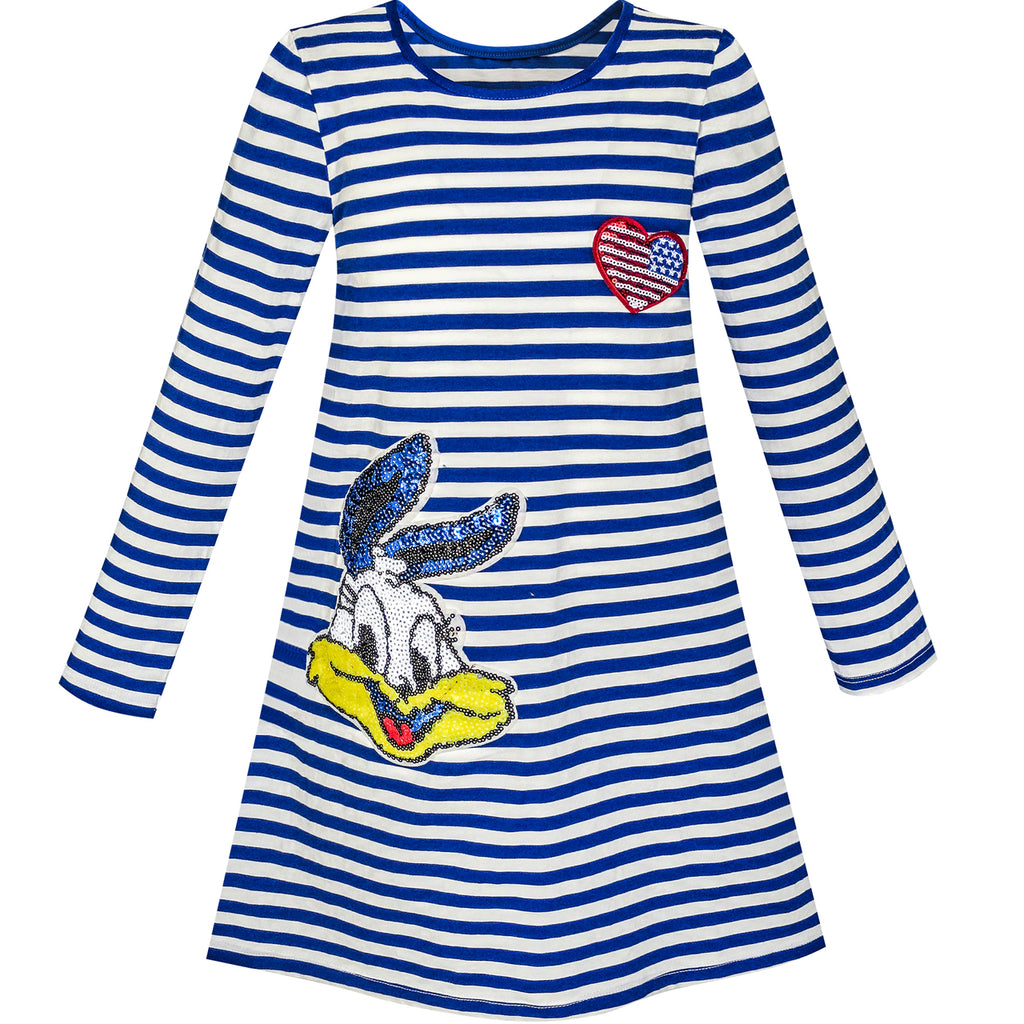 Girls Dress Long Sleeve Cotton Cartoon Sequins Blue Striped Size 4-10 Years
