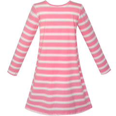 Girls Dress Long Sleeve Cotton Cartoon Sequins Pink Striped Dress Size 5-12 Years