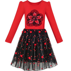 Girls Dress Long Sleeve Cotton Red Flower Christmas Dress Size 6-12 Years