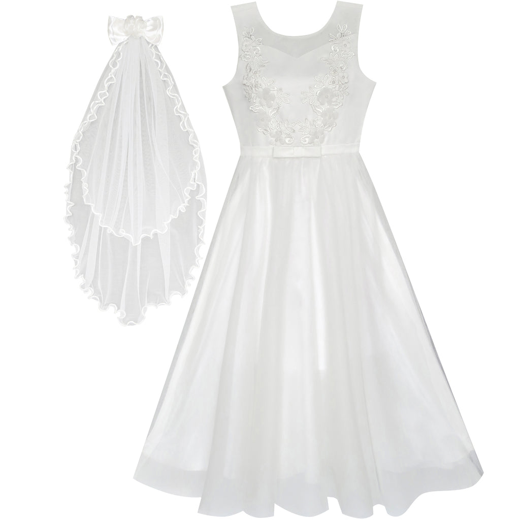 Flower Girls Dress Off White Wedding Veil First Communion Size 6 12 Years