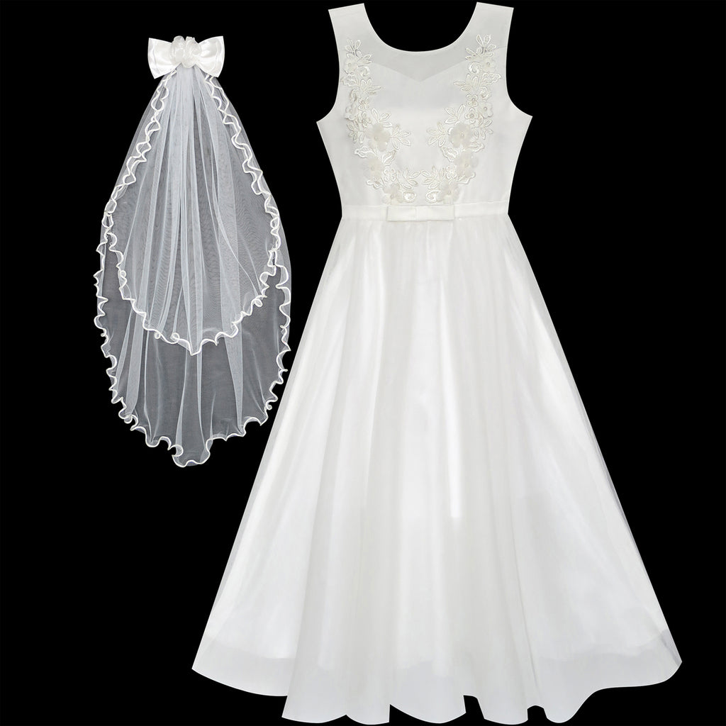 Flower Girls Dress Off White Wedding Veil First Communion Sunny