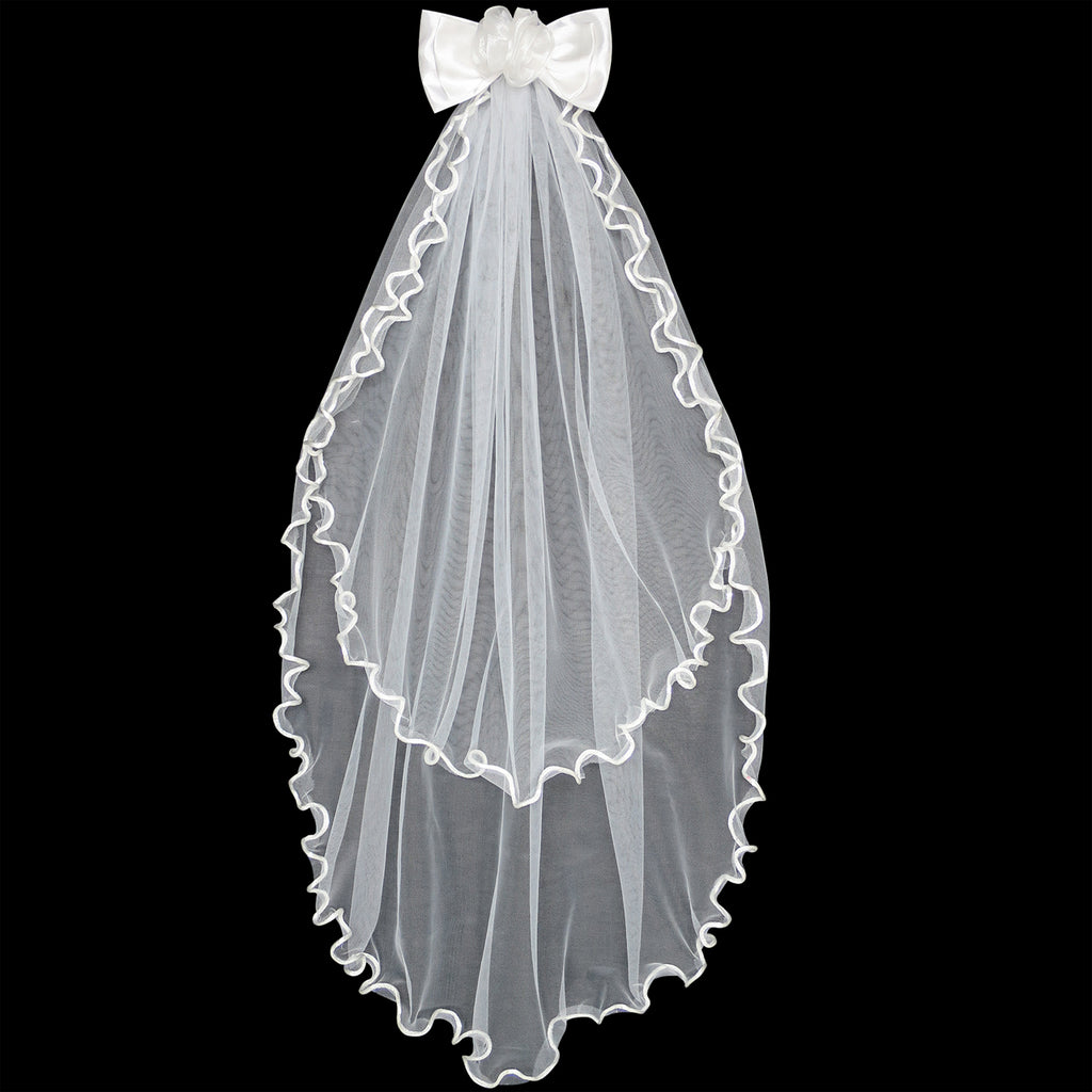 Digging The Off Red Vintage Color And The Lil White: Flower Girls Dress Off White Wedding Veil First Communion