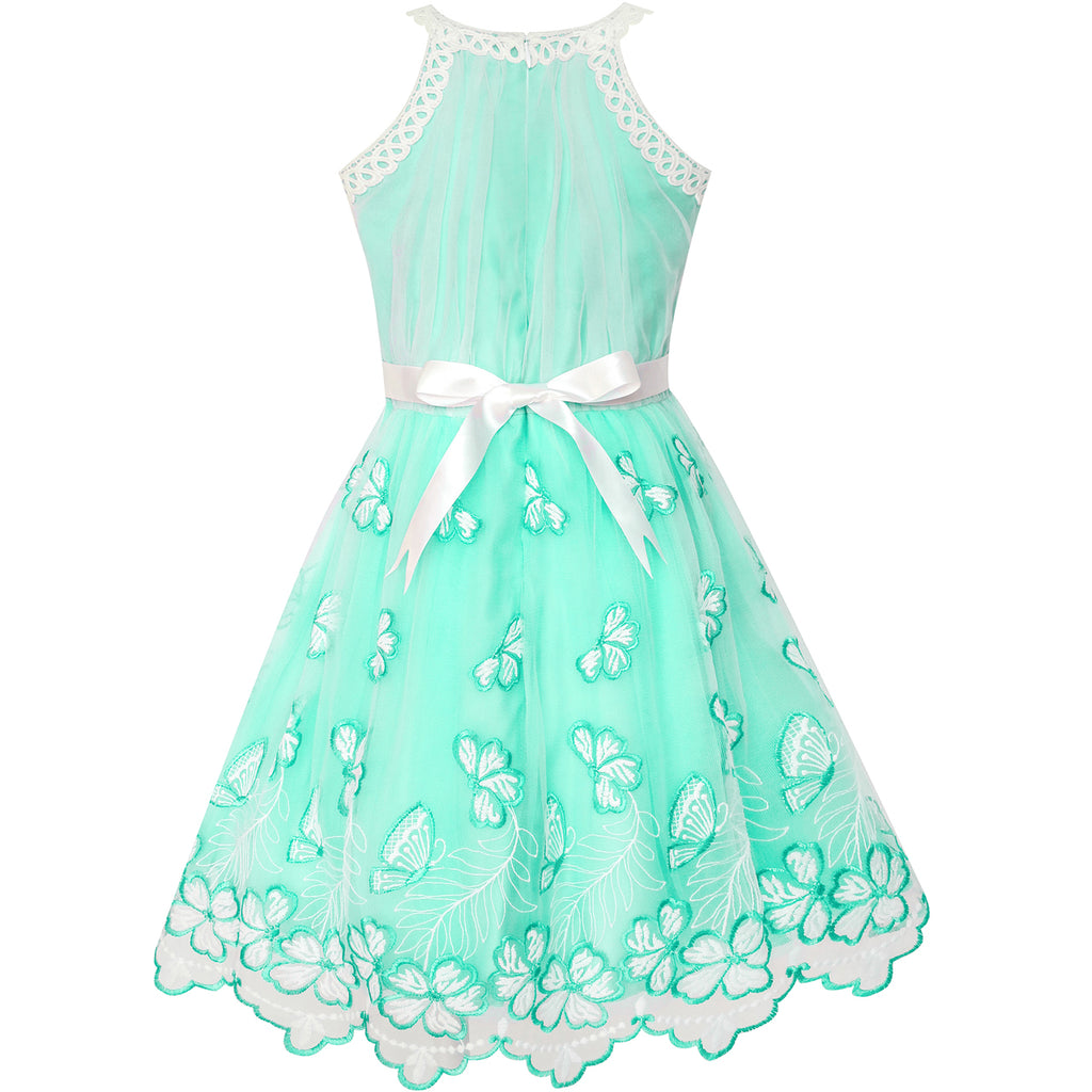 Girls Dress Turquoise Butterfly Embroidered Halter Dress Party ...