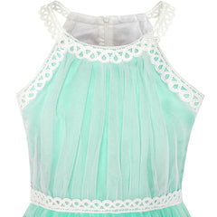 Girls Dress Turquoise Butterfly Embroidered Halter Dress Party Size 5-12 Years
