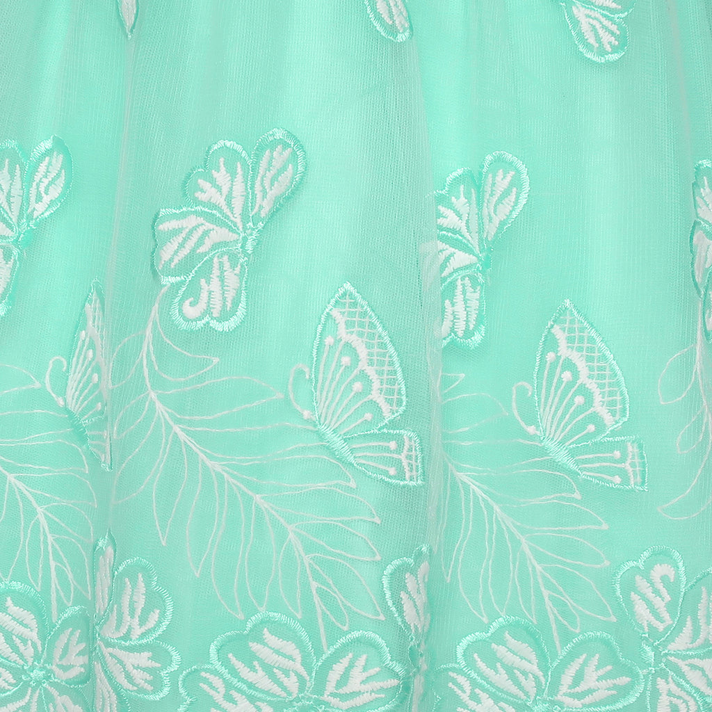 Girls Dress Turquoise Butterfly Embroidered Halter Dress Party Size 5-12