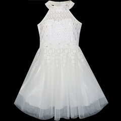 Flower Girls Dress Lace Sequins Sparkling Wedding Bridesmaid Size 5-12 Years