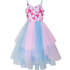 Girls Dress Butterfly Pink Blue Skater Ball Gown Pageant Size 6-12 Years