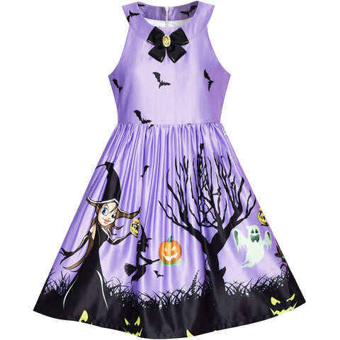 Girls Dress Halloween Witch Bat Pumpkin Costume Purple Dress Size 7-14 Years