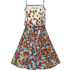 Girls Dress Tank Coffe Brown Flower Size 4-10 Years