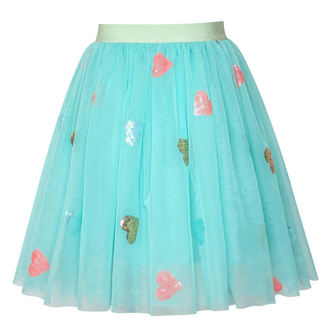 Girls Skirt Blue Heart Sequins Sparkling Tutu Dancing Size 2-12 Years