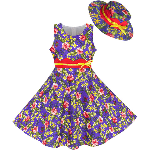 Girls Dress Hat Purple Flower Leaf Party Size 4-12 Years
