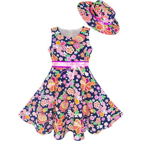 Girls Dress Hat Pink Flower Beach Party Size 4-12 Years