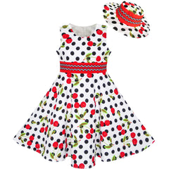 Girls Dress Hat White Black Dot Cherry Dancing Party Size 4-12 Years