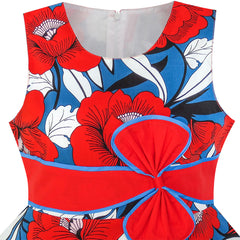 Girls Dress Hat Red Flower Summer Beach Party Size 4-12 Years