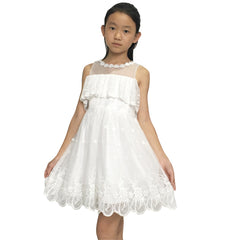Girls Dress Cold Shoulder/Sleeveless Lace Flower Ruffle  Size 6-14 Years