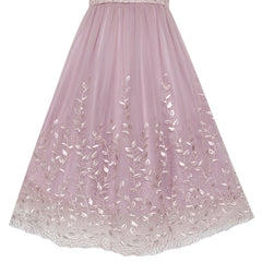 Flower Girls Dress Purple Embroidery Floral Wedding Bridesmaid Size 5-14 Years
