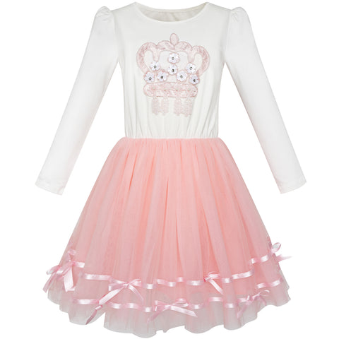 Girls Dress Long Sleeve Crown Ribbon Birthday Princess Pink Dress Size 4-8 Years