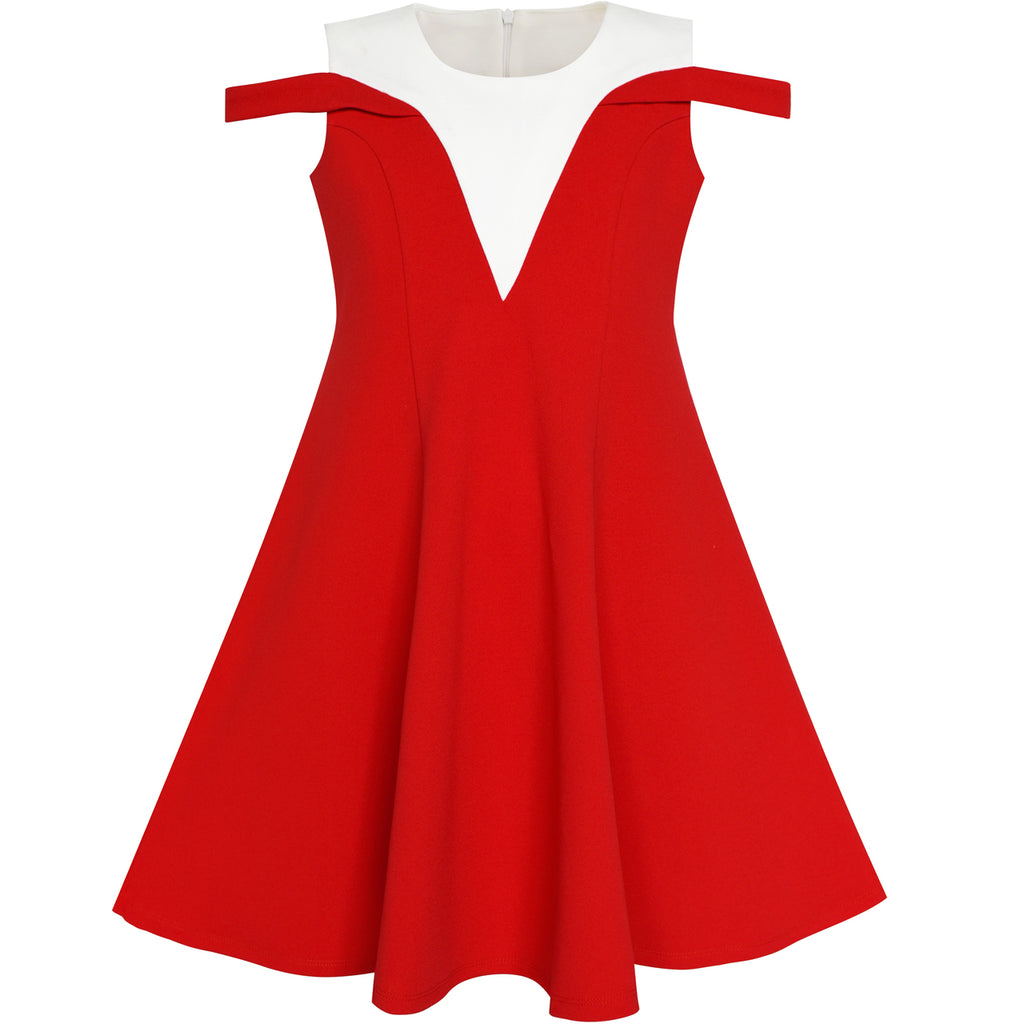 Girls Dress Red White Cold Shoulder Color Contrast Holiday Size 5-12 Years