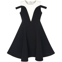 Girls Dress Black White Cold Shoulder Color Contrast Holiday Size 5-12 Years
