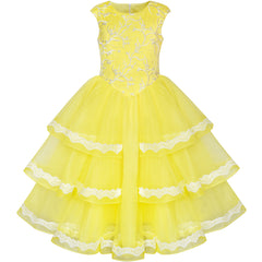 Girls Dress Ball Gown Princess Belle Beauty And Beast Size 6-12 Years