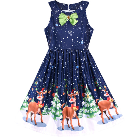 Girls Dress Christmas Eve Christmas Tree Snow Reindeer Party Size 7-14 Years