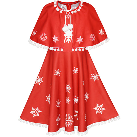 Girls Dress Red Cape Cloak Christmas Year Holiday Party Size 4-14 Years