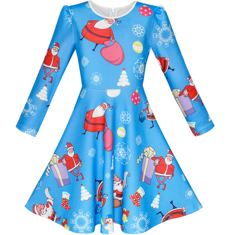 Girls Dress Blue Santa Jingle Bell Christmas Tree Long Sleeve Size 5-12 Years