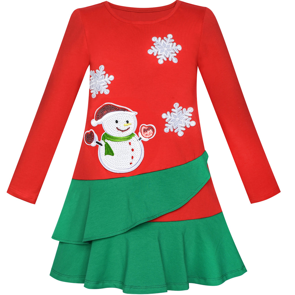 Girls Dress Long Sleeve Christmas Snowman Holiday Party Size 5-12 Years