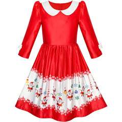 Girls Dress 3/4 Sleeve Christmas Santa Jingle Bell Snow Size 4-12 Years