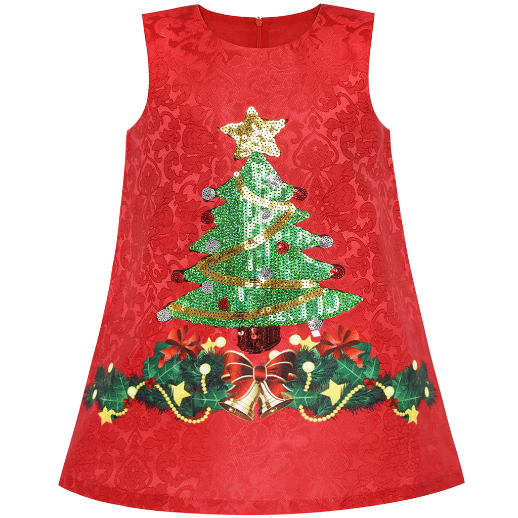 f7058b07e7a2 Girls Dress A-line Christmas Tree Xmas Sequin Sparkling Holiday ...