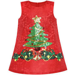 Girls Dress A-line Christmas Tree Xmas Sequin Sparkling Holiday Party Size 3-10 Years