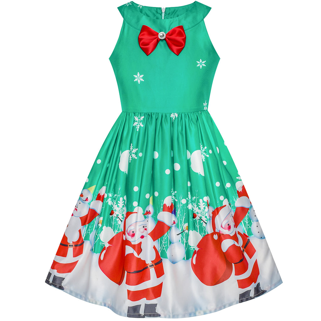 Girls Dress Chirstmas Santa Snow Xmas Party Turquoise – Sunny Fashion