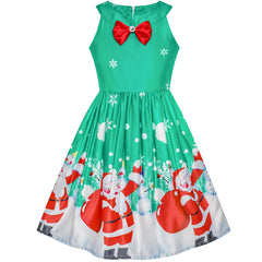 Girls Dress Christmas Santa Snow Xmas Party Turquoise Size 7-14 Years