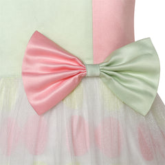 Girls Dress Bow Tie Green Pink Color Contrast Size 4-12 Years