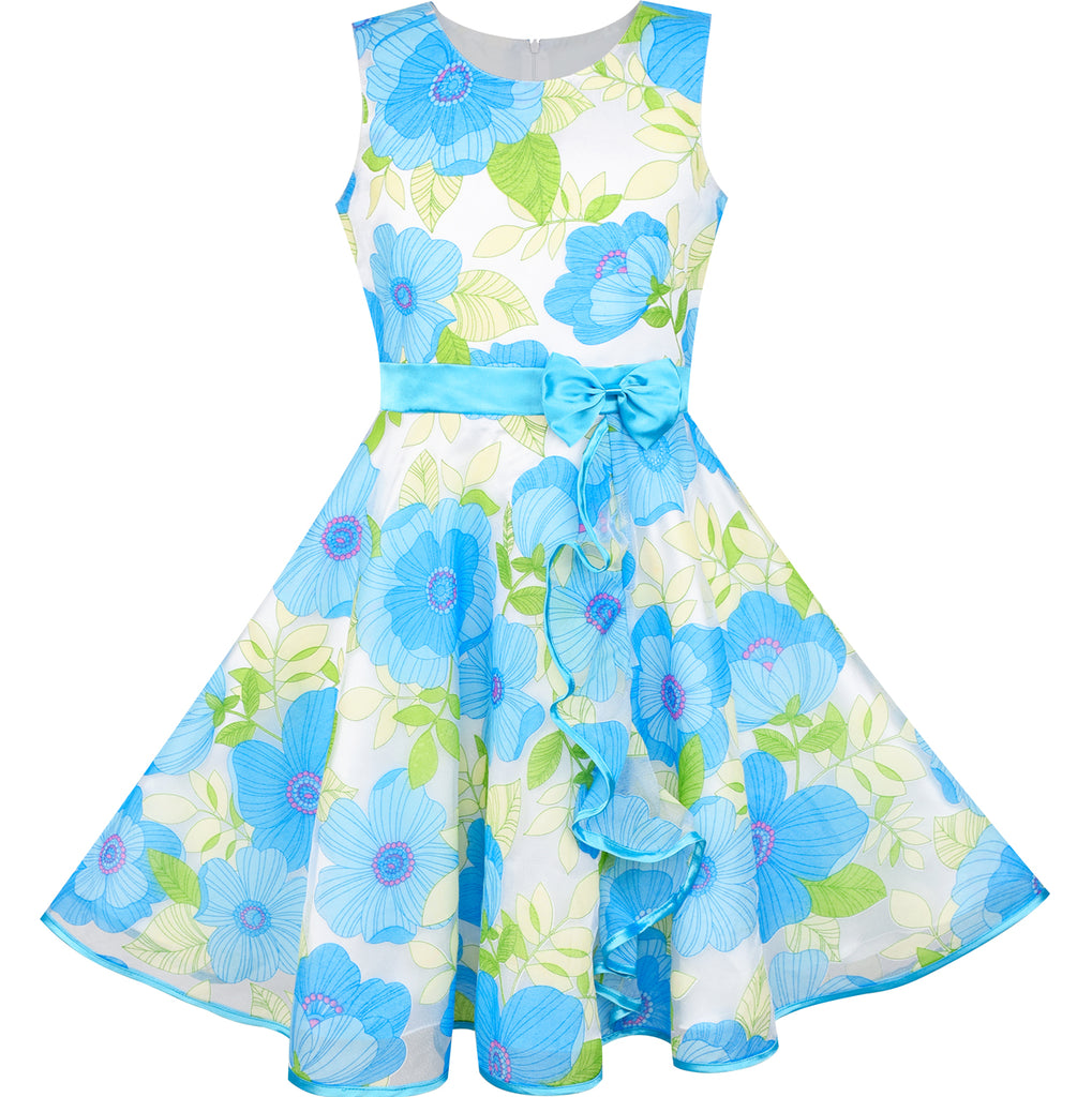 Girls Dress Blue Flower Bow Tie Tulle Party Princess – Sunny Fashion