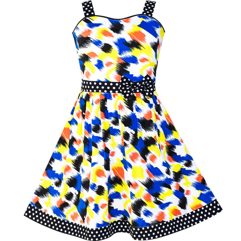 Girls Dress Colorful Bow Tie Dot Summer Size 4-12 Years