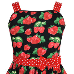 Girls Dress Red Strawberry Bow Tie Dot Summer Size 4-12 Years