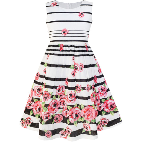 Girls Dress Black Striped Pink Flower Size 4-12 Years