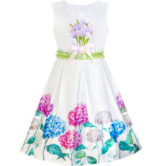 Girls Dress Hydrangea Floral Fit And Flare Satin Dress Size 5-10 Years