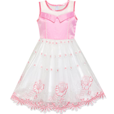 Girls Dress Pink Flower Embroidered Lace Illusion Yoke Princess Size 5-12 Years