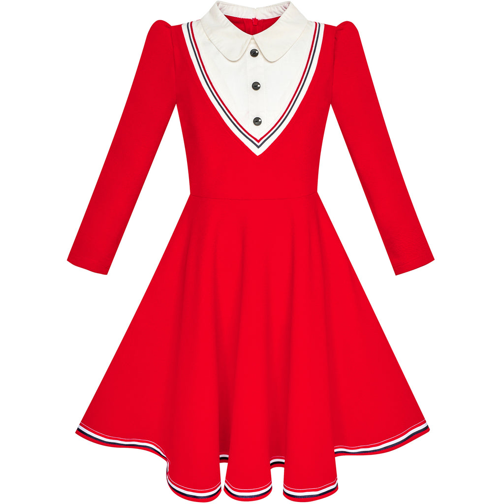 Girls Dress School White Collar Red Long Sleeve Striped Size 4-12 Years