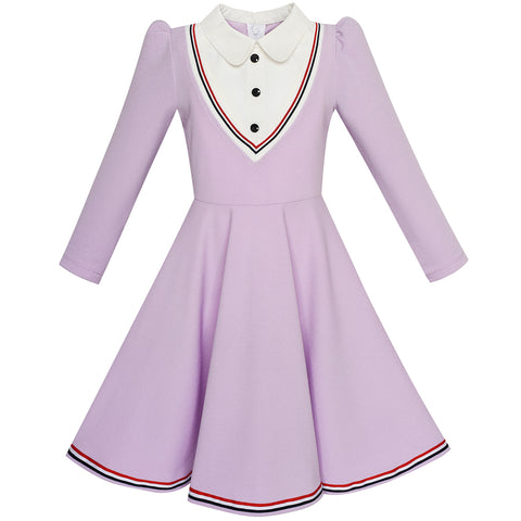 Girls Dress School White Collar Purple Long Sleeve Striped Size 4-12 Years