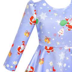 Girls Dress Blue Christmas Santa Xmas Tree Year Size 5-12 Years
