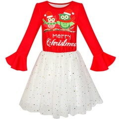 Girls Dress Long Sleeve Christmas Owl Sparkling Sequin Tulle Size 5-12 Years