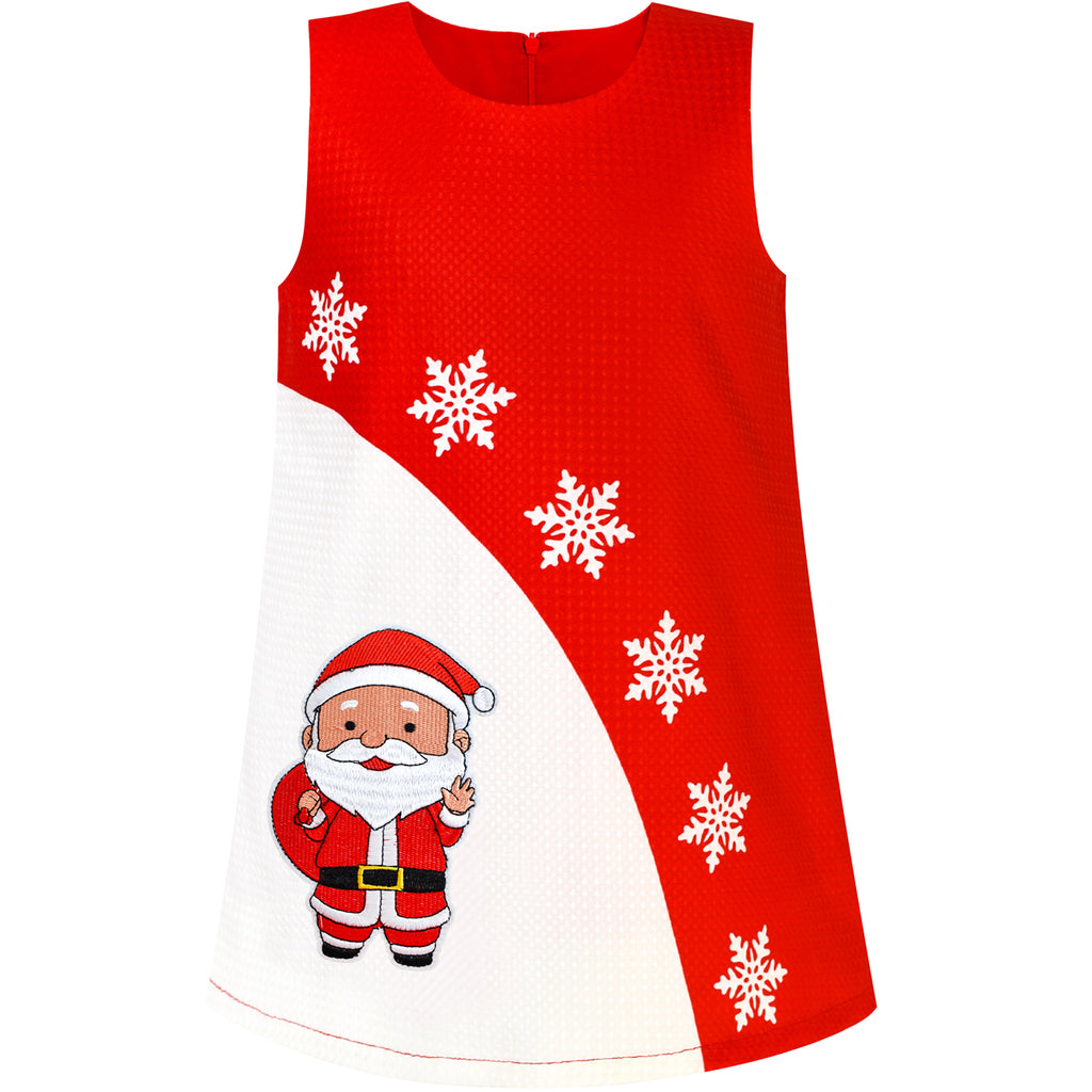 Girls Dress A-line Christmas Santa Xmas Snow Year Holiday Party Size 3-8 Years