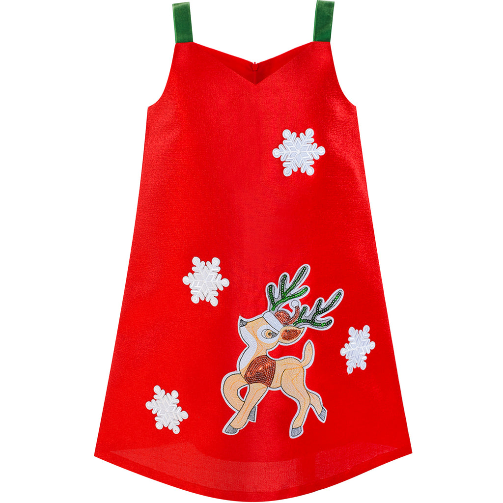 fc099d561726 Girls Dress A-line Tank Red Green Reindeer Snow Christmas Holiday ...