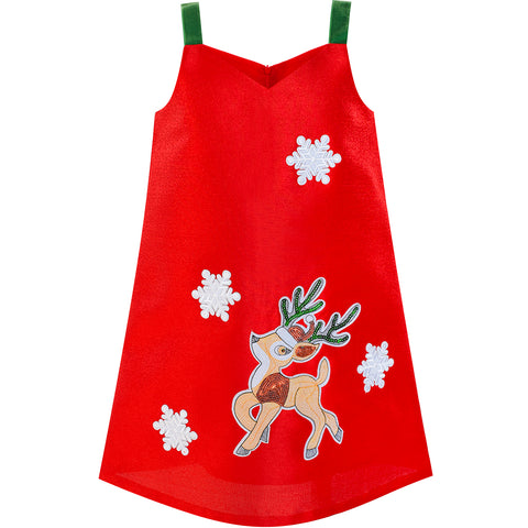 Girls Dress A-line Tank Red Green Reindeer Snow Christmas Holiday Size 3-8 Years
