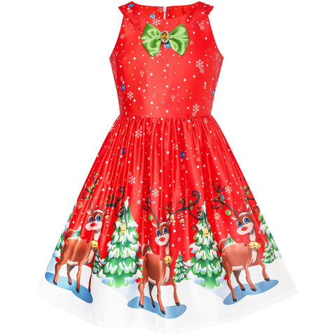 Girls Dress Red Christmas Reindeer Snow Xmas Tree Party Size 7-14 Years