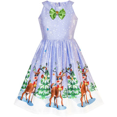 Girls Dress Purple Christmas Reindeer Snow Xmas Tree Party Size 7-14 Years
