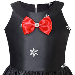Girls Dress Black Christmas Santa Snow Xmas Tree Party Size 7-14 Years
